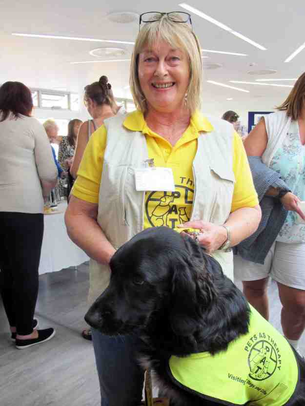 Brodie is the new petting dog who visits the hospital weekly, benefitting the patients hugely.