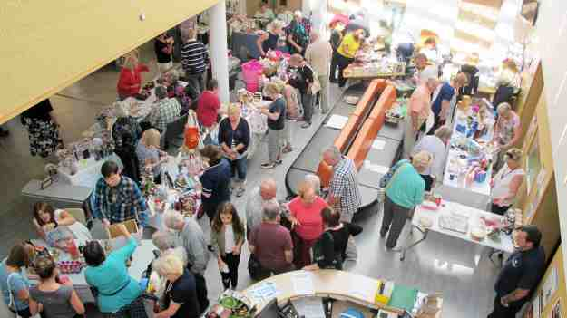 Visitors looking around the craft stalls.